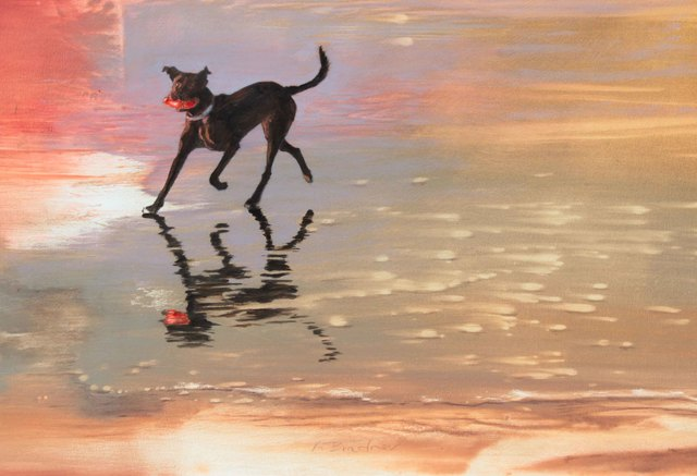 , 'Black Dog, Red Toy,' 2016, Sue Greenwood Fine Art