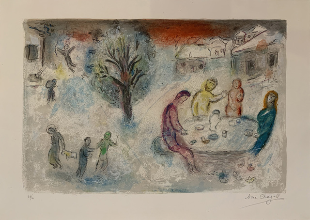 Marc Chagall, 'Daphnis et Chloe: The Meal at Dryas' House', 1961, Print, Lithograph printed in colours, Sims Reed Gallery