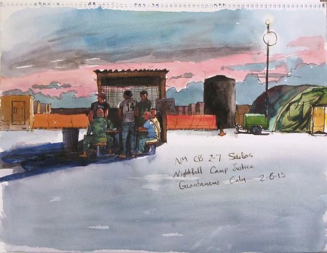 , '2/6/13, NM CB 2-7 Sailors, Nightfall Camp Justice. Guantanamo Bay, Cuba,' 2013, Postmasters Gallery