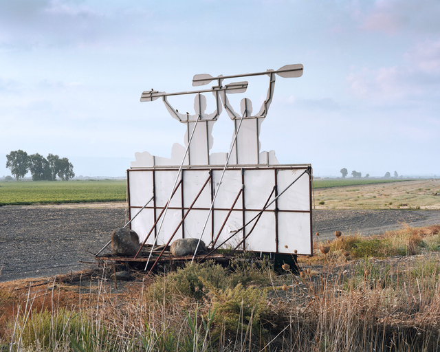 , 'Transformed Agricultural Machine, kayak road sign facing highway 90, Hula Valley,' 2016, PHOTO IS:RAEL