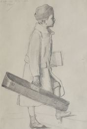 Portrait of a boy standing full-length holding a suitcase