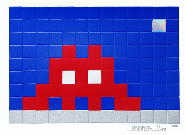 Invader, 'Home Moon', 2010, Print, Screenprint (embossed), Lougher Contemporary Gallery Auction