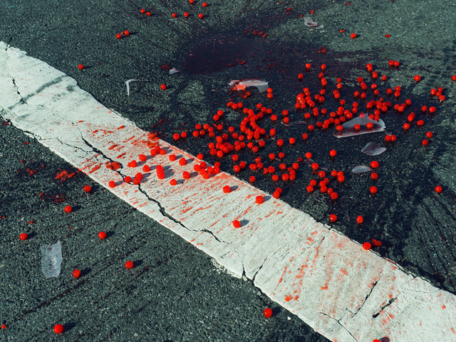 , 'Cherries spilled on crosswalk. New York City, NY. USA,' 2014, Magnum Photos