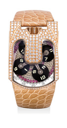 A unique and fine pink gold and ruby-and-diamond-set chronometer wristwatch with three-dimensional satellite hour display and power reserve