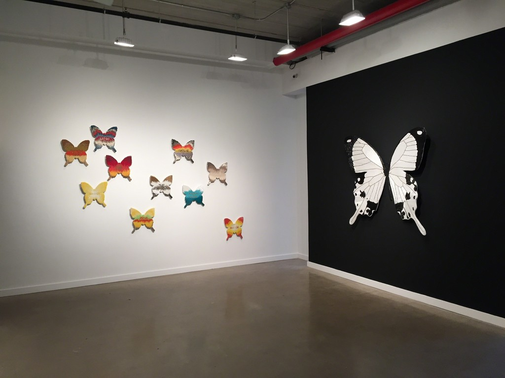 "Butterfly installation (left) and ""Duality"" (right)"