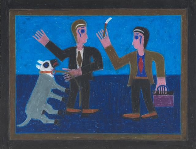 Eddie Arning, 'Untitled (Two Men with Dog)', Rago/Wright