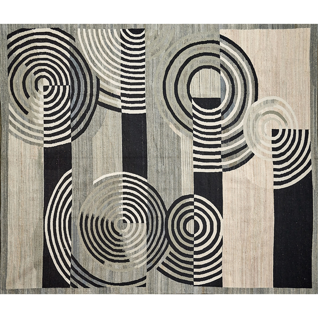 'Contemporary Flatweave Wool Rug With French Accents', Rago/Wright