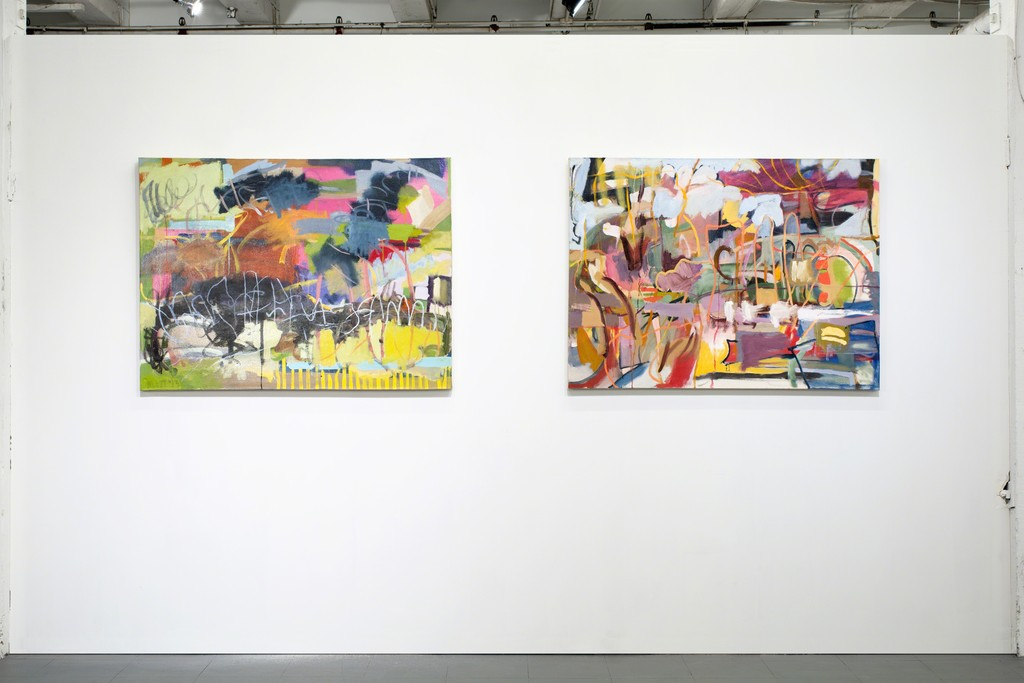 Two paintings by Matt Wolcott in SOFT REBOOT at PROTO Gallery.