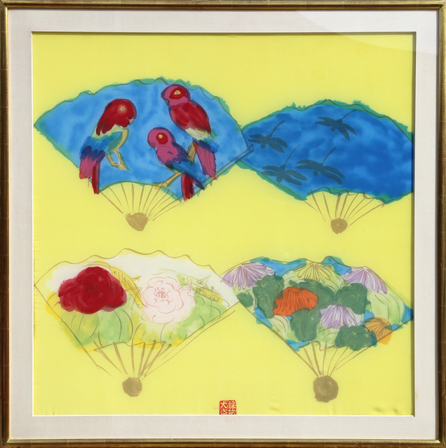 Walasse Ting 丁雄泉, 'Four Fans', ca. 1980, Print, Lithograph on Silk, RoGallery