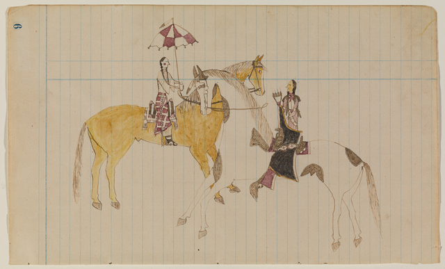 , 'Ledger Drawing, Courting Scene,' ca. 1870, Donald Ellis Gallery