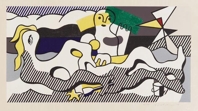 Roy Lichtenstein, 'At the Beach, from Surrealist series', 1978, Print, Lithograph in colors, on Arches 88 paper, with full margins, Phillips