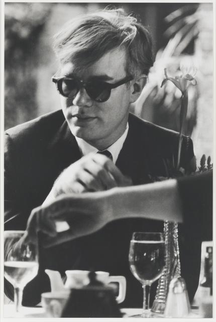 , 'Andy Warhol (at table),' 1963, Leslie Sacks Gallery