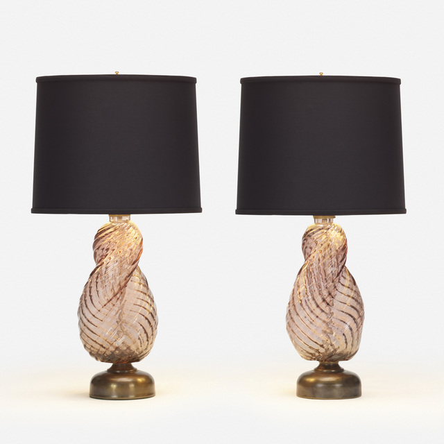 Paolo Venini, 'Diamante table lamps, pair', 1934, Design/Decorative Art, Internally decorated glass, brass, polyester, Rago/Wright