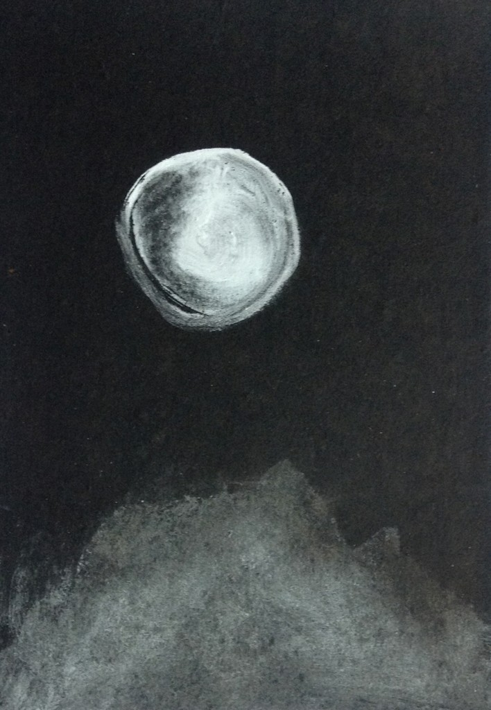 Margareth Dorigatti, Luna/Mond 1, 2016, watercolor on tar paper, 29x21 cm