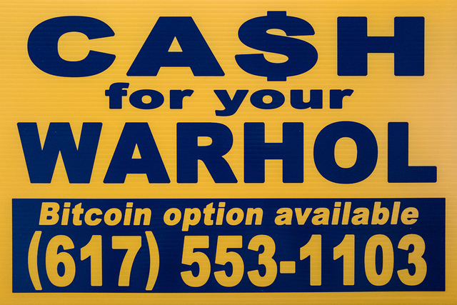 , 'CFYW Bitcoin (yellow),' 2018, Spoke Art