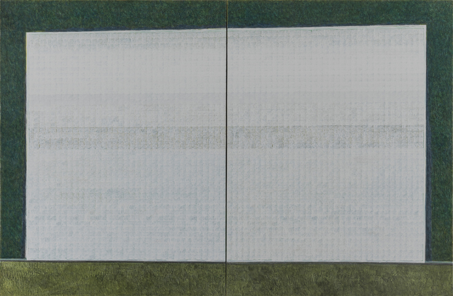 , 'White Blocks on Green,' 2013, Gallery Yang