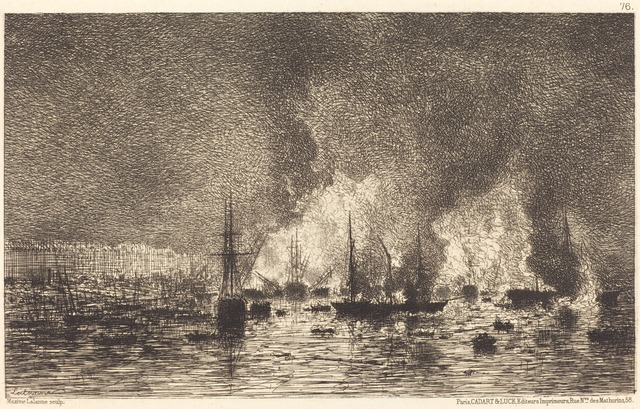 Maxime Lalanne, 'Incendie dans le port de Bordeaux', 1869, National Gallery of Art, Washington, D.C.