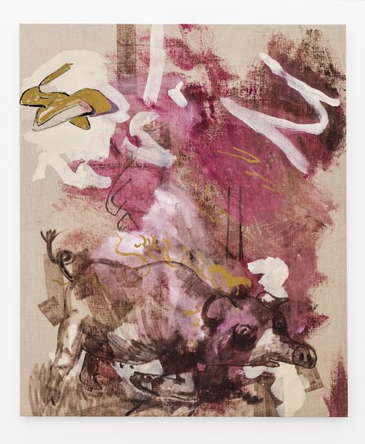 Halvor Rønning, 'Stiletto Heels, Kneeling Pig', 2018, Painting, Acrylic and alcohol based ink on canvas, CCA Andratx Kunsthalle