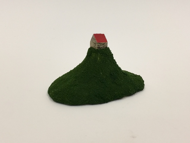 """, 'Housing Market Series 2: """"I have a perfect house for you. A house on a top of the mountain. There are no stores or house around you. You can enjoy the nature 24/7 by yourself."""",' 2018, Adah Rose Gallery"""