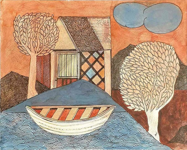""", 'House, Trees, Cloud & Boat, Watercolor, Pencil on Paper by Indian Artist """"In Stock"""",' 2007, Gallery Kolkata"""
