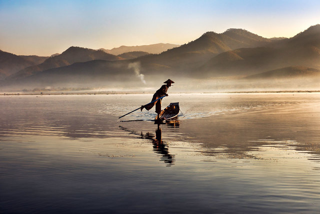 , 'Intha Fisherman on Inle Lake, Burma,' 2011, Cavalier Galleries