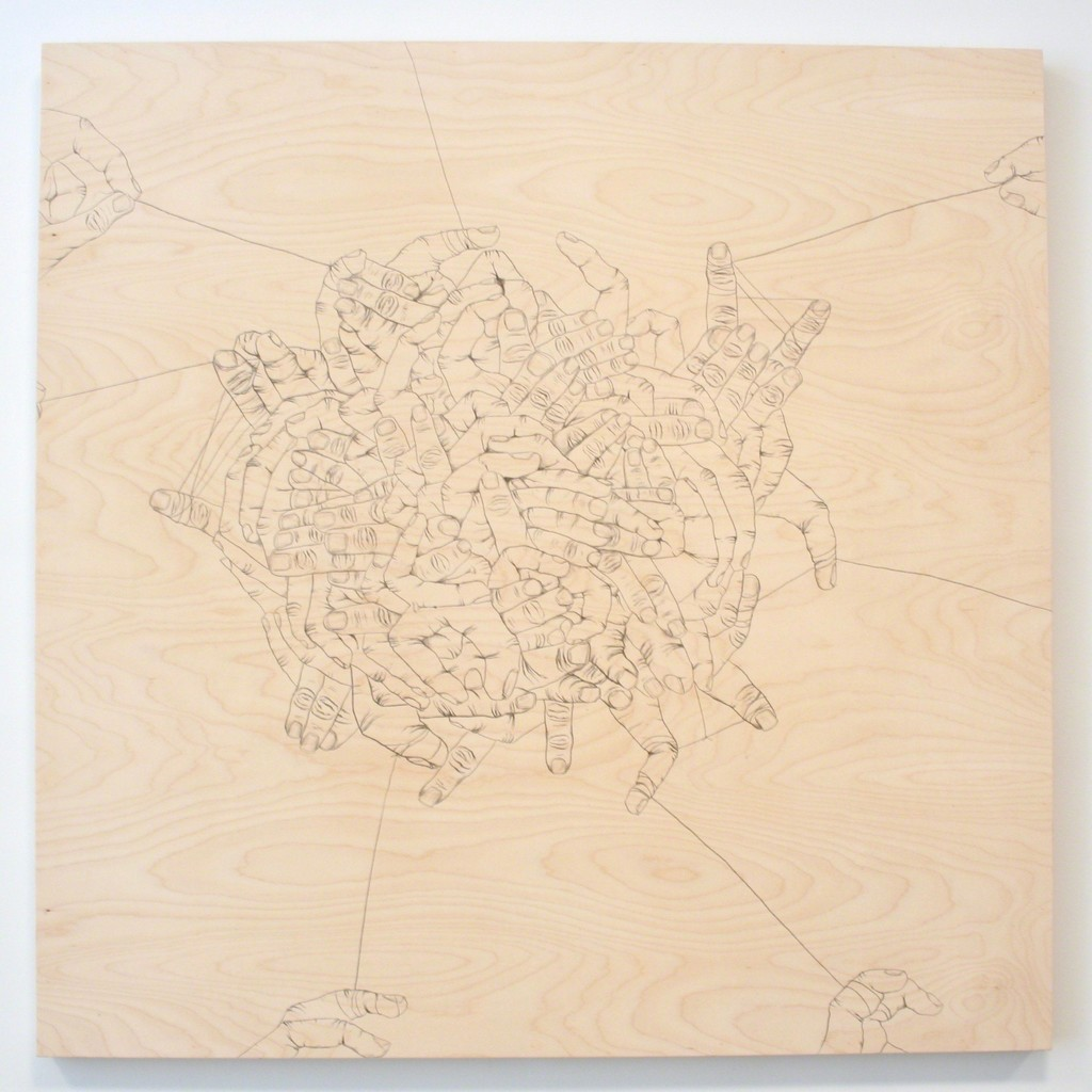 """""""Still Connected 1"""" by Brian Mallman, 2017, graphite on wood panel, 48 x 48 in"""