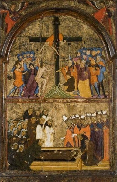 Unknown Artist, 'Christ Mounting the Cross and the Funeral of Saint Clare', ca. 1290, Davis Museum