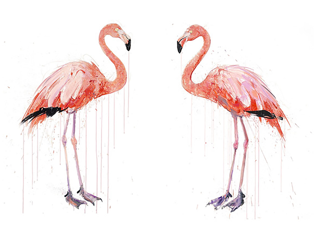 Dave White, 'Flamingo I & II DD', 2019, Print, Silkscreen with varnishes and Diamond Dust background. Framed to conservation standard. Priced individually or as a pair, The Drang Gallery