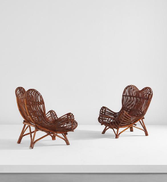 "Ezio Sgrelli, 'Pair of adjustable ""Gala"" armchairs', circa 1951, Design/Decorative Art, Stained rattan, Indian cane., Phillips"