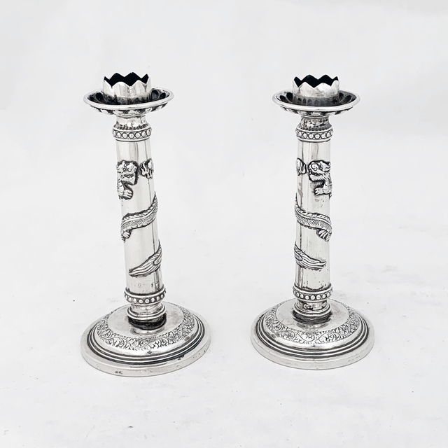 Luen Hing of Hong Kong, 'A pair of Chinese Export silver candlesticks with dragon detail ', 1895, Other, Sterling silver, Esmé Parish Silver