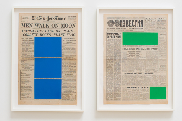 , 'Art For Modern Architecture (New York Times – Moon Landing – 21/07/69 & Izvestiya – Moon Landing – 21/07/69),' 2018, Ingleby Gallery