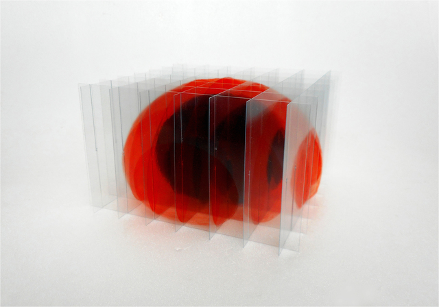 , 'oeuf posé III (orangé-rouge),' 2017, Galerie Marie-Robin
