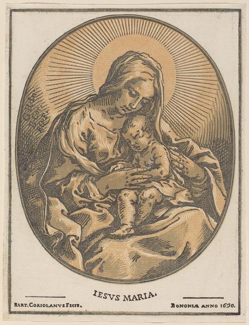 Bartolomeo Coriolano after Guido Reni, 'Virgin and Child', 1630, Print, Chiaroscuro woodcut, National Gallery of Art, Washington, D.C.