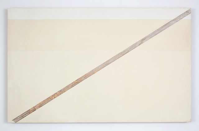 R. H. Quaytman, 'The Sun, Chapter 1 [diagonal edge, horizontal stripe]', 2001, The FLAG Art Foundation