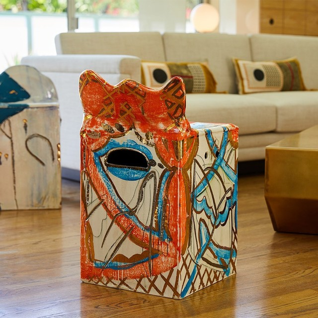 , 'Metallic Orange and Blue Square Chair,' 2017, The Future Perfect