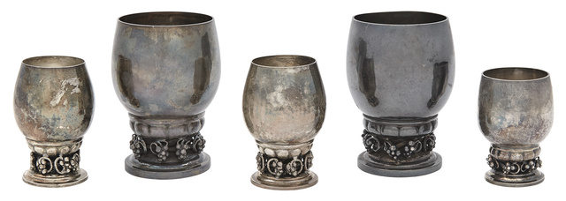 'Two Georg Jensen Sterling Silver Grape Pattern Beakers Pattern no. 296 A', post-1945, Design/Decorative Art, Doyle