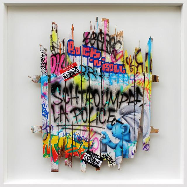 Onemizer, 'Schtroumpf la police', 2019, Galerie Perahia