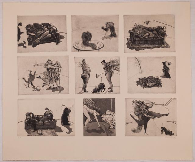 ", '""Domestic Scenes"" (nine plates on one sheet),' 1980, Sylvan Cole Gallery"