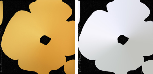 Gold Flowers, March 3, 2011 and Silver Flowers, March 5, 2011 (two works)