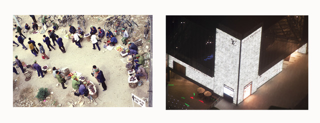 , '(Left) Street Commerce, (Right) Louis Vuitton Store at a Mall,' 1980-2014, Fowler Museum at UCLA