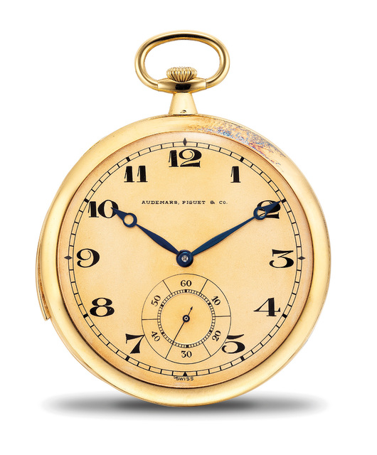 Audemars Piguet, 'A very rare, very fine and attractive yellow gold ultra thin minute repeating openface pocket watch with extra movement', 1914, Phillips