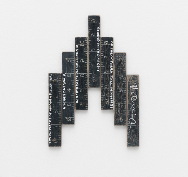 Hamish Fulton, 'Seven pieces of wooden ruler for: a seven day walk in northeastern California ending on the night of the October full moon', 1981, Bergamin & Gomide