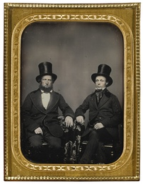 A Pair of Elegantly Dressed California Gentlemen with Top Hats
