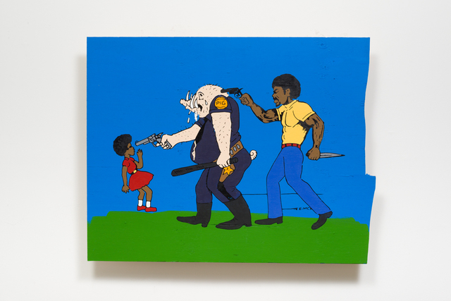 , 'THE PIG IS AFRAID OF THE BLACK MAN. HE STRIKES OUT AGAINST LITTLE CHILDREN,' 2017, Night Gallery