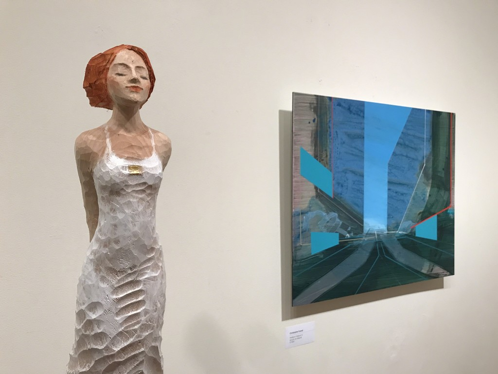 Michael Pickl sculpture and Christopher Farrell painting.