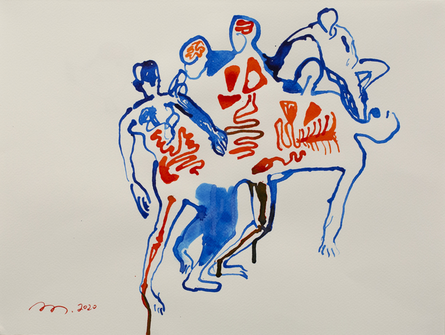 Tang Dixin 唐狄鑫, 'A Group of People', 2020                , Painting, Ink on paper, Ota Fine Arts