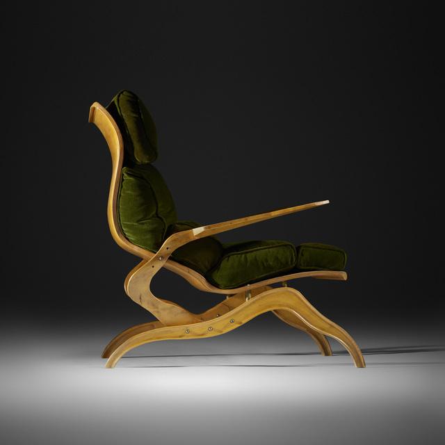 Franco Campo and Carlo Graffi, 'Rare Lounge Chair', 1951, Design/Decorative Art, Acero, brass, velvet, Rago/Wright
