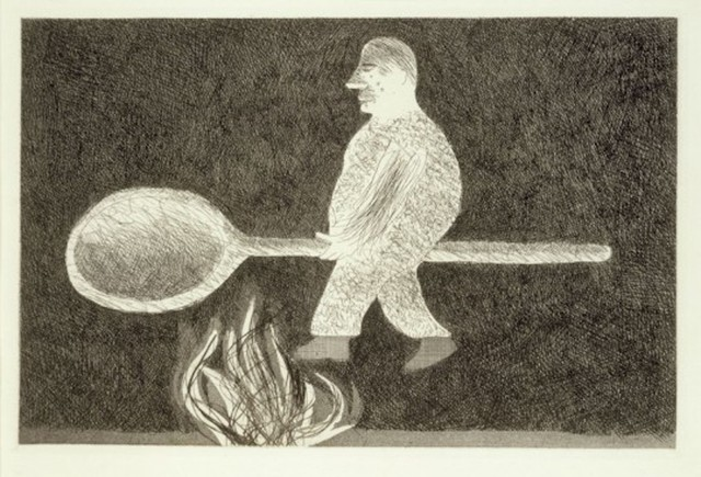 David Hockney, 'Riding around on a Cooking Spoon from Illustrations for Six Fairy Tales from the Brothers Grimm', 1969, Grob Gallery