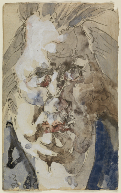 Horst Janssen, 'Self-portrait', 1983, Drawing, Collage or other Work on Paper, Watercolour and gouache on a sheet of antique paper, probably taken from a book, Day & Faber