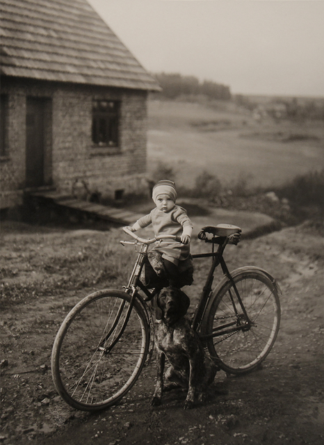 August Sander, 'Forester's Child, Westerwald [Farm Child on Bicycle]', 1913/1990, Photography, Gelatin silver print, ClampArt